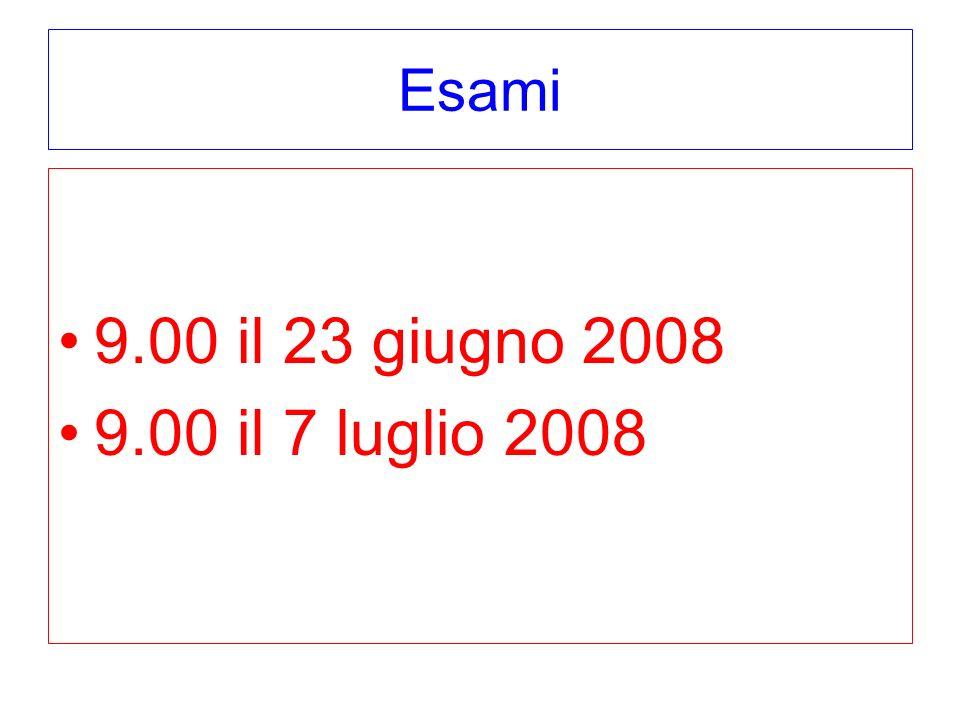 Esami 9.00 il 23 giugno 2008 9.00 il 7 luglio 2008