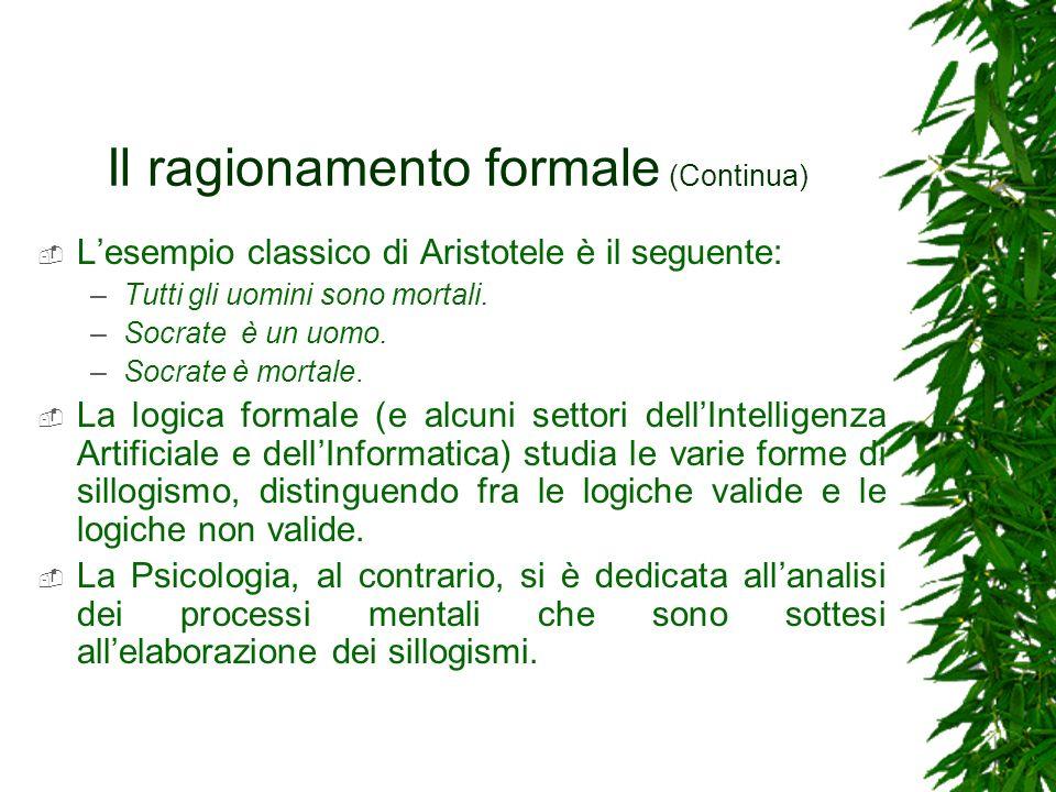 Il ragionamento formale (Continua) Lesempio classico di Aristotele è il seguente: –Tutti gli uomini sono mortali. –Socrate è un uomo. –Socrate è morta