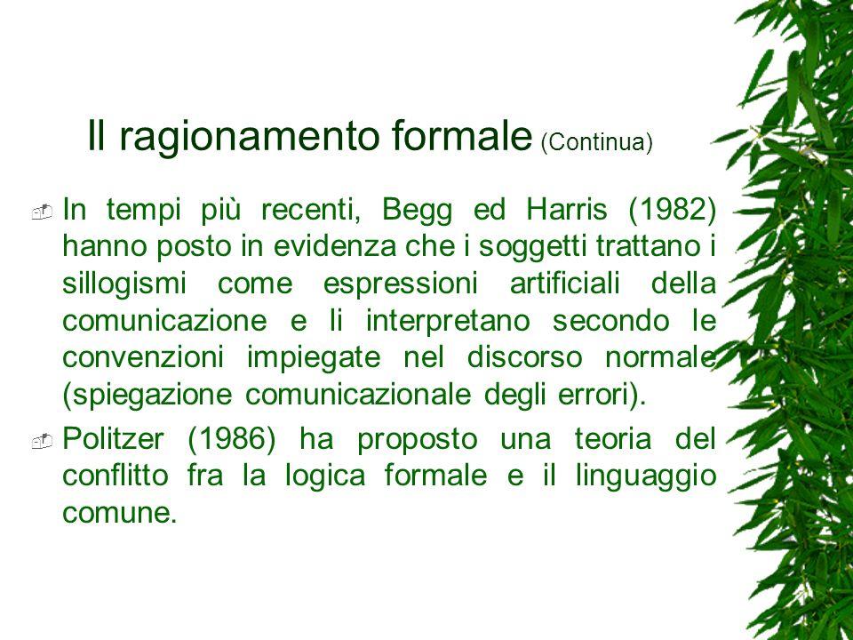 Il ragionamento formale (Continua) In tempi più recenti, Begg ed Harris (1982) hanno posto in evidenza che i soggetti trattano i sillogismi come espre