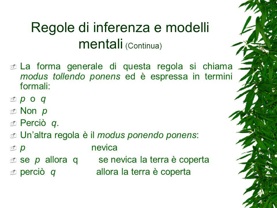 Regole di inferenza e modelli mentali (Continua) La forma generale di questa regola si chiama modus tollendo ponens ed è espressa in termini formali: