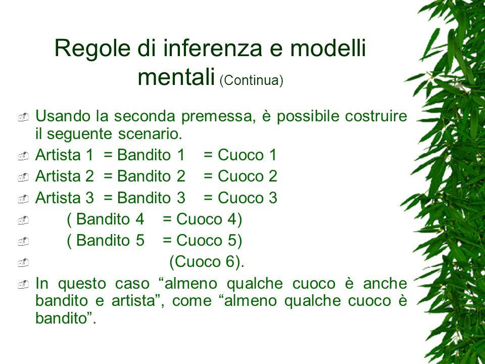 Regole di inferenza e modelli mentali (Continua) Usando la seconda premessa, è possibile costruire il seguente scenario. Artista 1 = Bandito 1 = Cuoco
