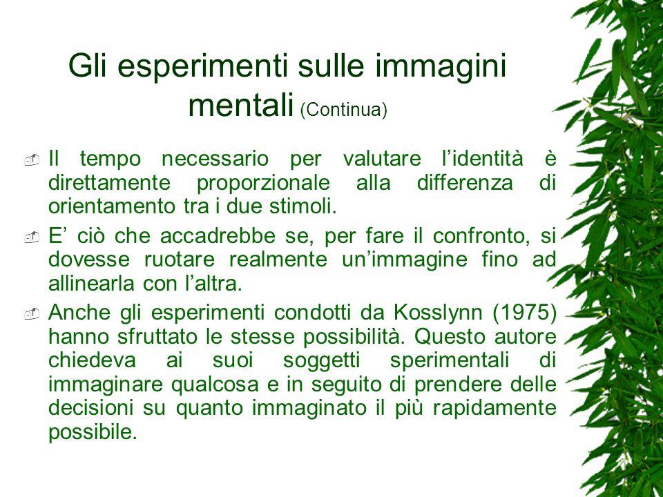 Gli esperimenti sulle immagini mentali (Continua) Il tempo necessario per valutare lidentità è direttamente proporzionale alla differenza di orientame