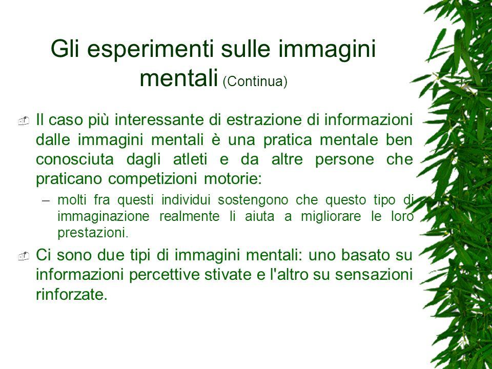 Gli esperimenti sulle immagini mentali (Continua) Il caso più interessante di estrazione di informazioni dalle immagini mentali è una pratica mentale