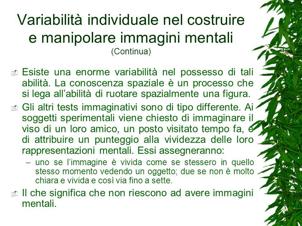 Variabilità individuale nel costruire e manipolare immagini mentali (Continua) Esiste una enorme variabilità nel possesso di tali abilità. La conoscen