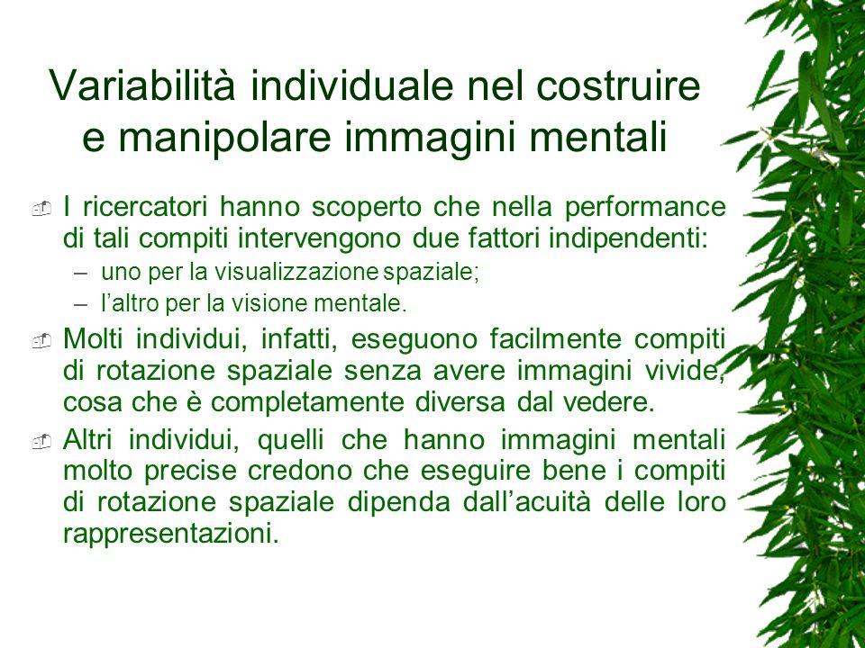 Variabilità individuale nel costruire e manipolare immagini mentali I ricercatori hanno scoperto che nella performance di tali compiti intervengono du