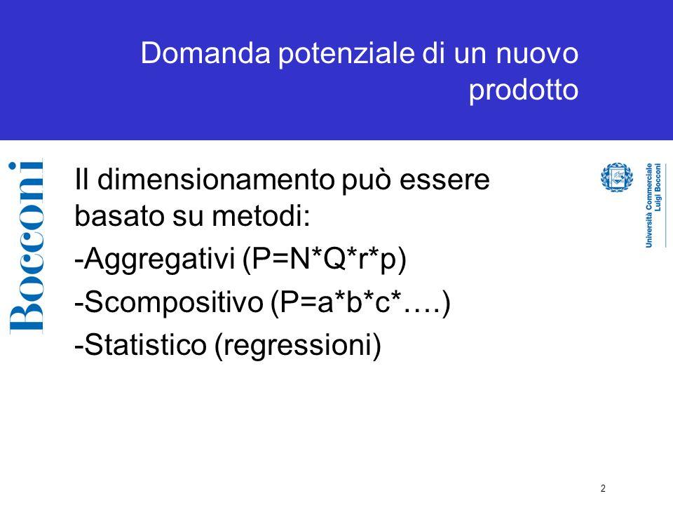 2 Domanda potenziale di un nuovo prodotto Il dimensionamento può essere basato su metodi: -Aggregativi (P=N*Q*r*p) -Scompositivo (P=a*b*c*….) -Statistico (regressioni)
