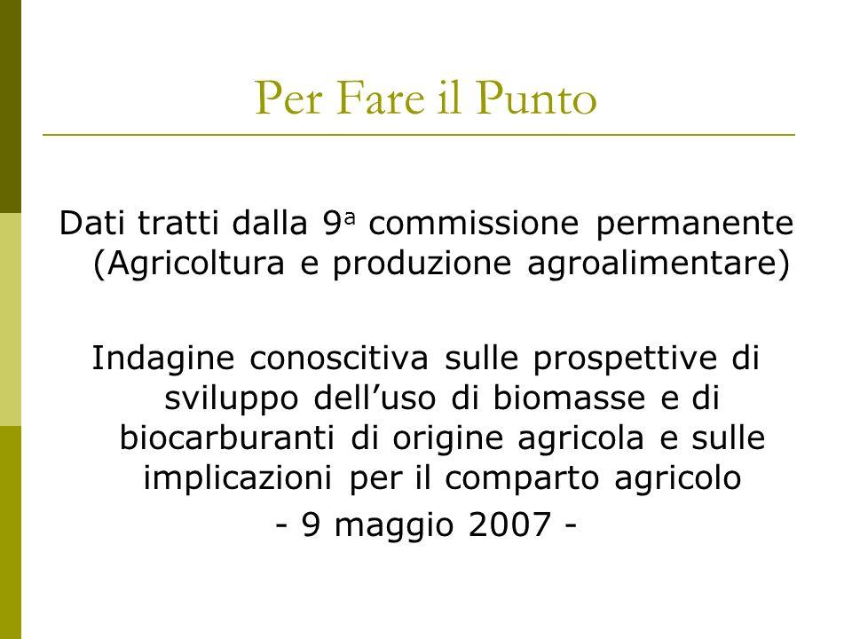 Per Fare il Punto Dati tratti dalla 9 a commissione permanente (Agricoltura e produzione agroalimentare) Indagine conoscitiva sulle prospettive di sviluppo delluso di biomasse e di biocarburanti di origine agricola e sulle implicazioni per il comparto agricolo - 9 maggio 2007 -