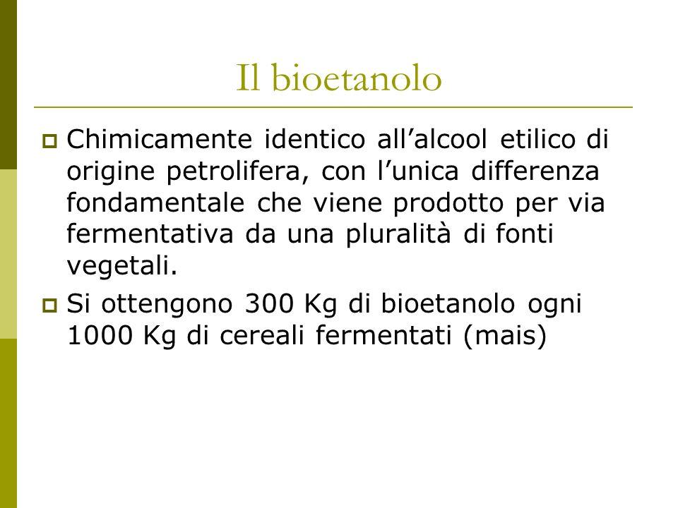 Il bioetanolo Chimicamente identico allalcool etilico di origine petrolifera, con lunica differenza fondamentale che viene prodotto per via fermentativa da una pluralità di fonti vegetali.