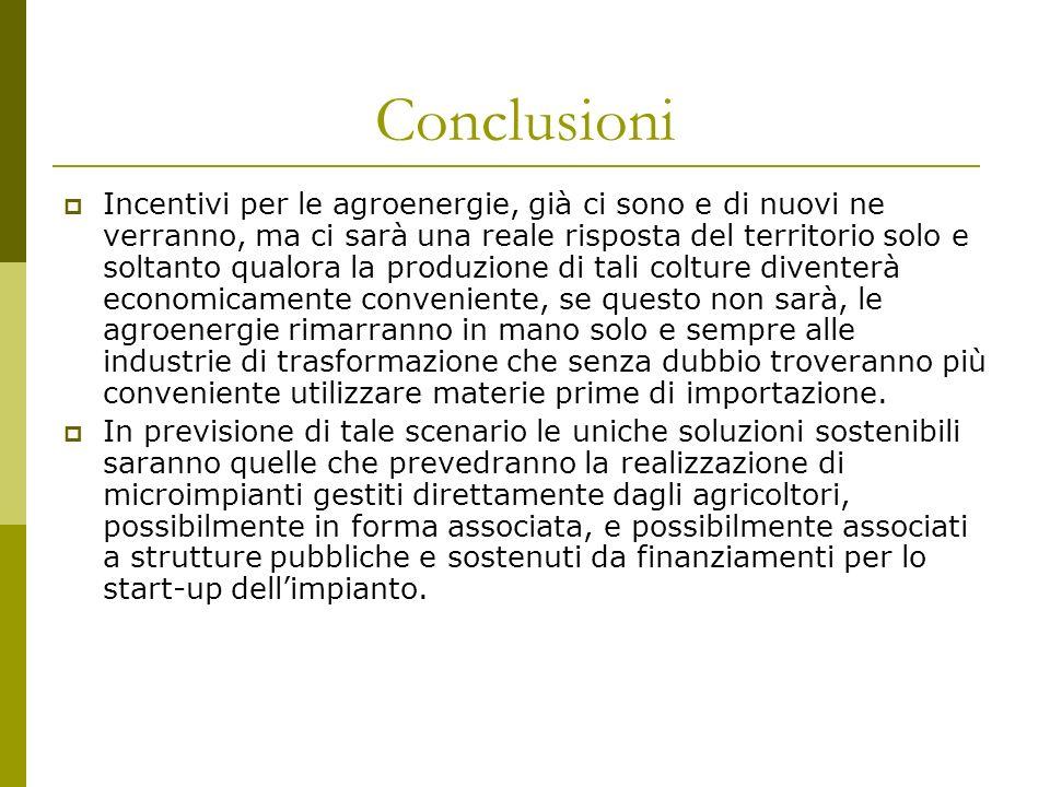 Conclusioni Incentivi per le agroenergie, già ci sono e di nuovi ne verranno, ma ci sarà una reale risposta del territorio solo e soltanto qualora la