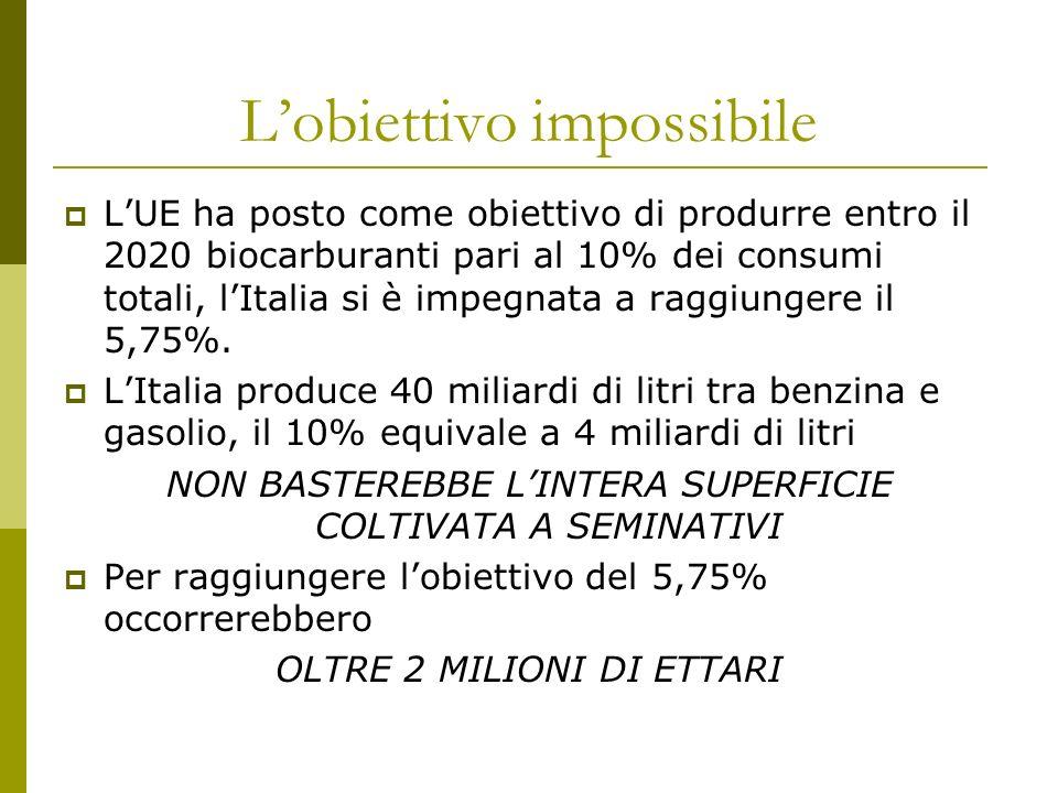 Il target italiano Potenzialmente si potrebbe disporre di una superficie di 800.000-1.000.000 ettari di girasole per un produzione di 7-800 milioni di litri di biocarburanti Le attuali produzioni di girasole agroenergetico si aggirano attorno ai 50-70 mila ettari, in genere coltivato su terreni set-aside.