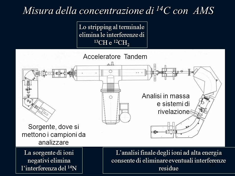 12 Misura della concentrazione di 14 C con AMS La sorgente di ioni negativi elimina linterferenza del 14 N Lo stripping al terminale elimina le interf