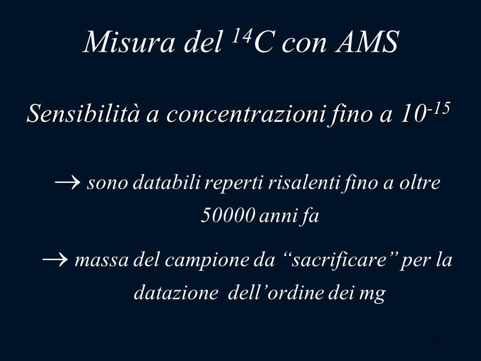 13 Misura del 14 C con AMS sono databili reperti risalenti fino a oltre 50000 anni fa massa del campione da sacrificare per la datazione dellordine de