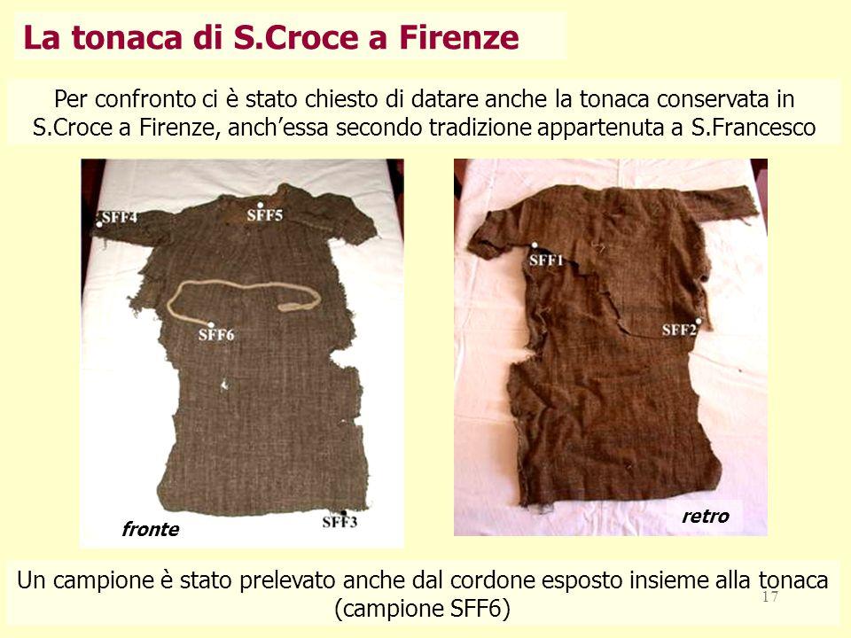 17 Per confronto ci è stato chiesto di datare anche la tonaca conservata in S.Croce a Firenze, anchessa secondo tradizione appartenuta a S.Francesco f