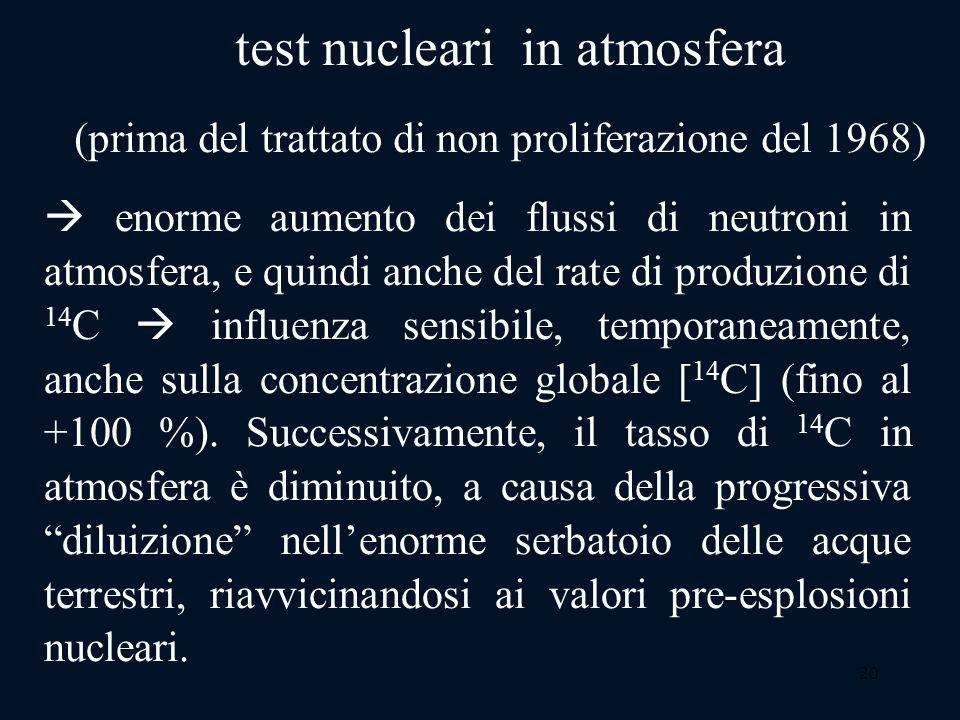20 enorme aumento dei flussi di neutroni in atmosfera, e quindi anche del rate di produzione di 14 C influenza sensibile, temporaneamente, anche sulla