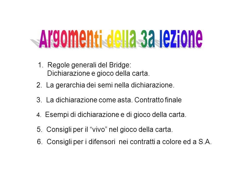 1. Regole generali del Bridge: Dichiarazione e gioco della carta. 2. La gerarchia dei semi nella dichiarazione. 3. La dichiarazione come asta. Contrat