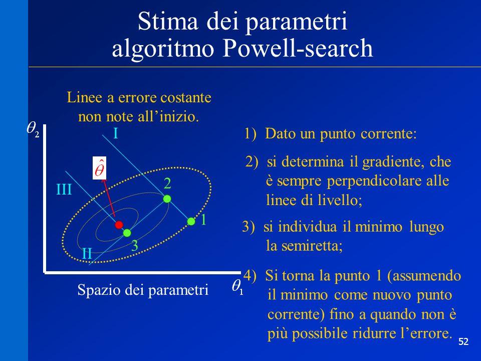 53 frontiera spazio dei parametri Stima dei parametri in presenza di vincoli Se si incontra un vincolo si proietta il gradiente sulla frontiera.