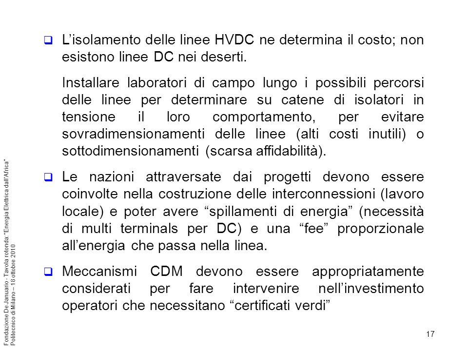 17 Fondazione De Januario - Tavola rotonda: Energia Elettrica dallAfrica Politecnico di Milano – 18 ottobre 2010 Lisolamento delle linee HVDC ne determina il costo; non esistono linee DC nei deserti.