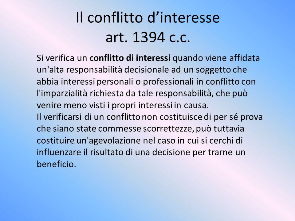 Il conflitto dinteresse art. 1394 c.c. Si verifica un conflitto di interessi quando viene affidata un'alta responsabilità decisionale ad un soggetto c