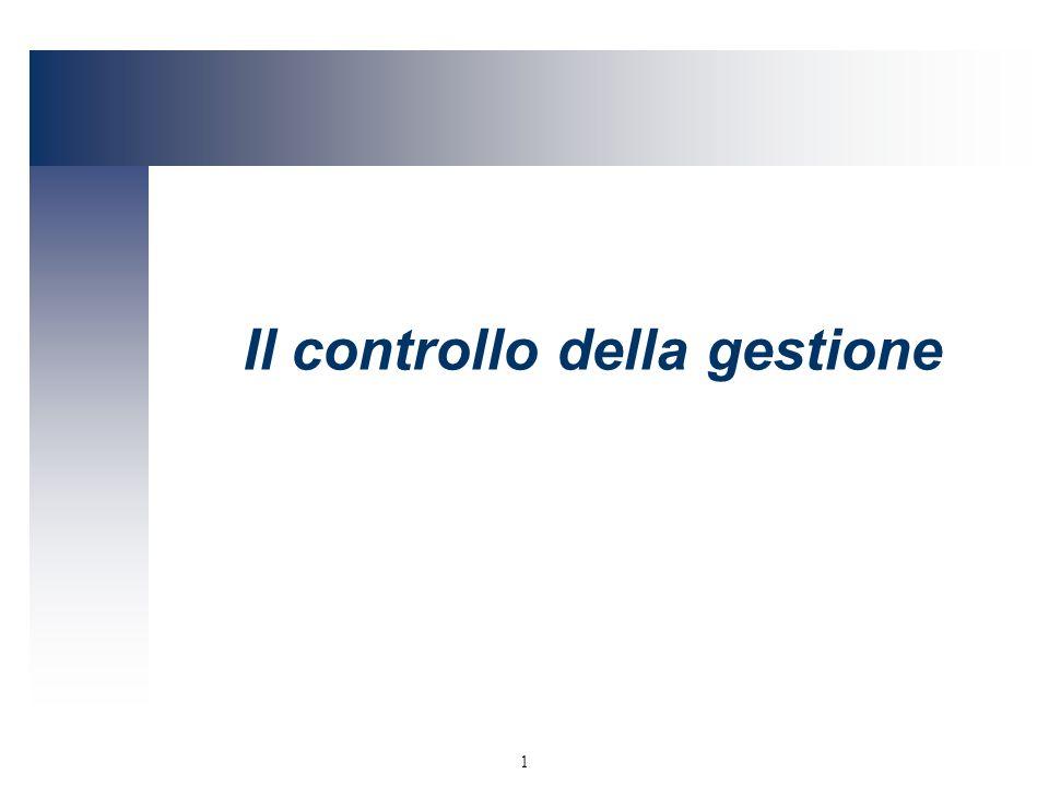 1 Il controllo della gestione