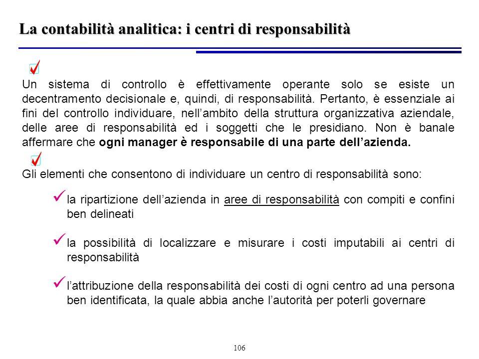 106 Un sistema di controllo è effettivamente operante solo se esiste un decentramento decisionale e, quindi, di responsabilità.