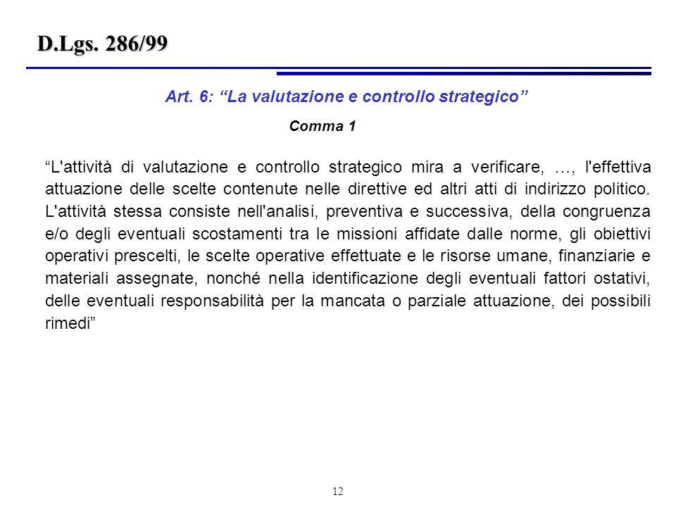 12 L attività di valutazione e controllo strategico mira a verificare, …, l effettiva attuazione delle scelte contenute nelle direttive ed altri atti di indirizzo politico.