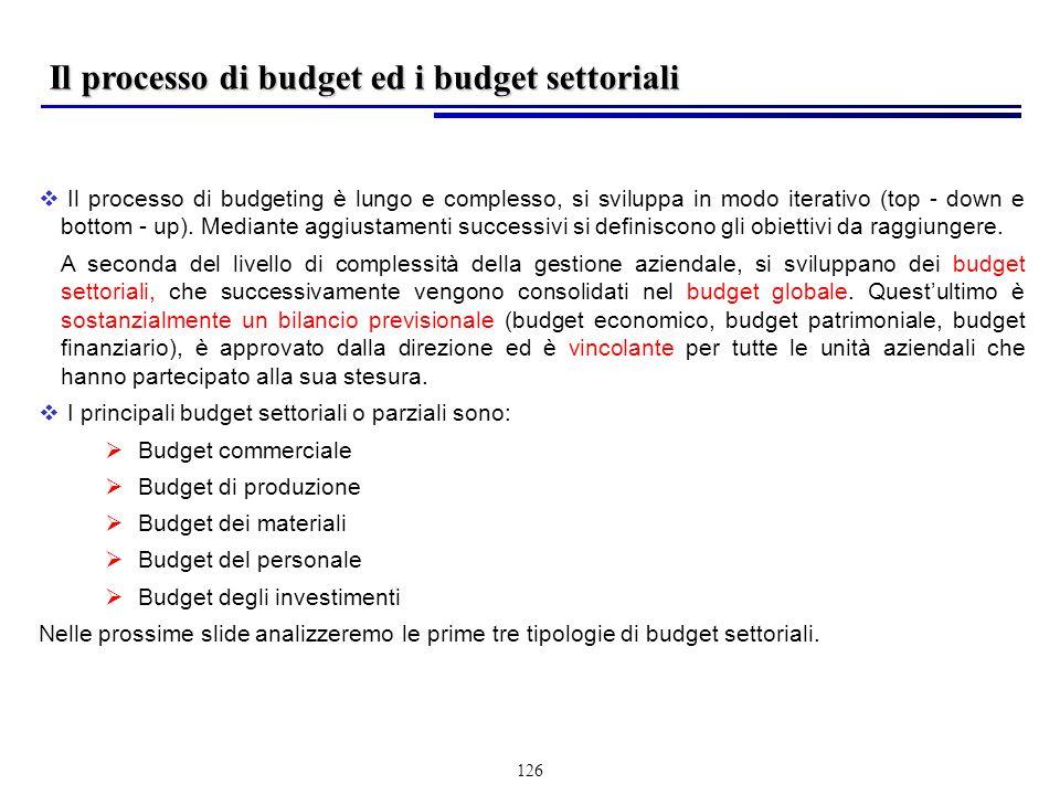 126 Il processo di budgeting è lungo e complesso, si sviluppa in modo iterativo (top - down e bottom - up).