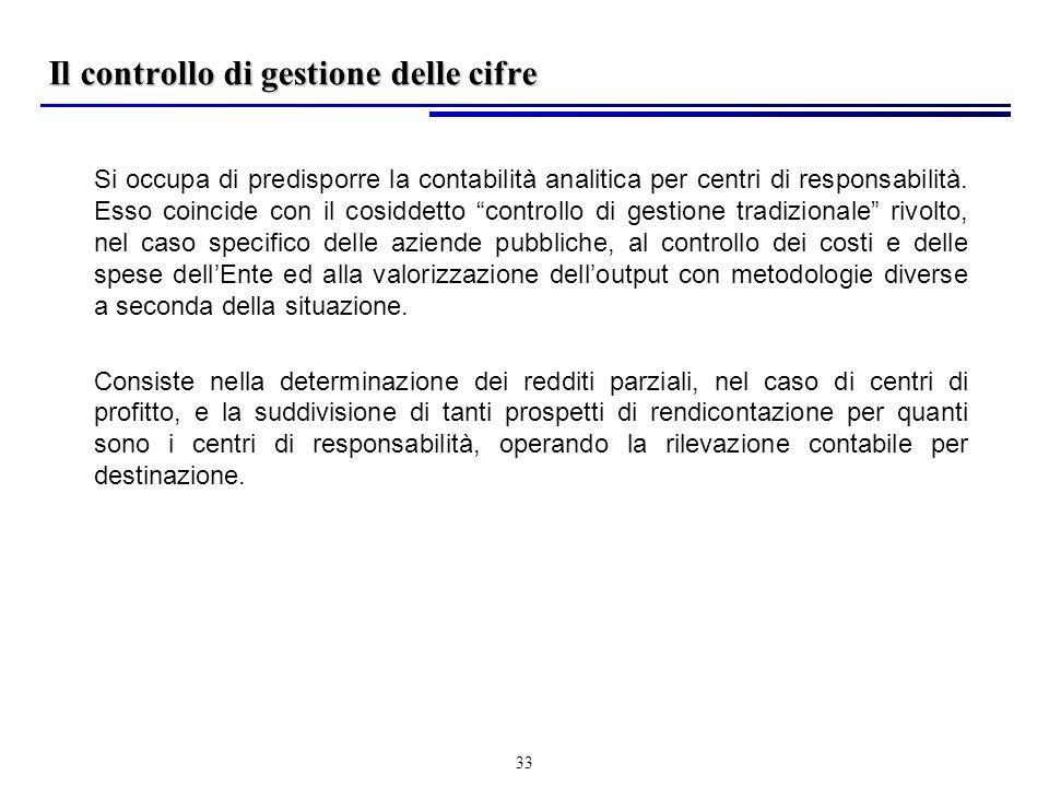33 Il controllo di gestione delle cifre Si occupa di predisporre la contabilità analitica per centri di responsabilità.