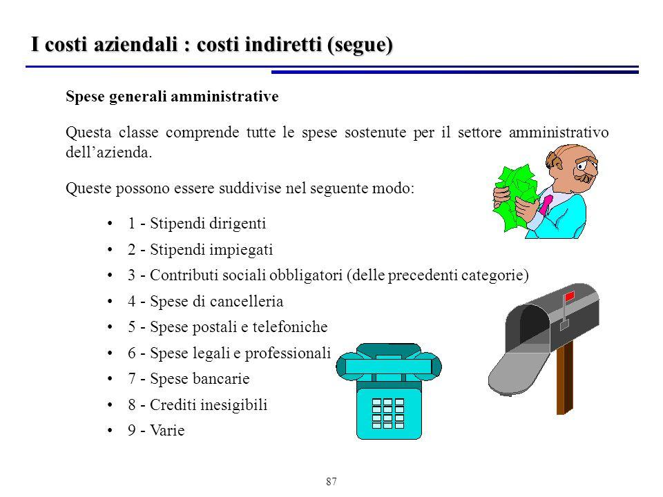87 I costi aziendali : costi indiretti (segue) Spese generali amministrative Questa classe comprende tutte le spese sostenute per il settore amministrativo dellazienda.