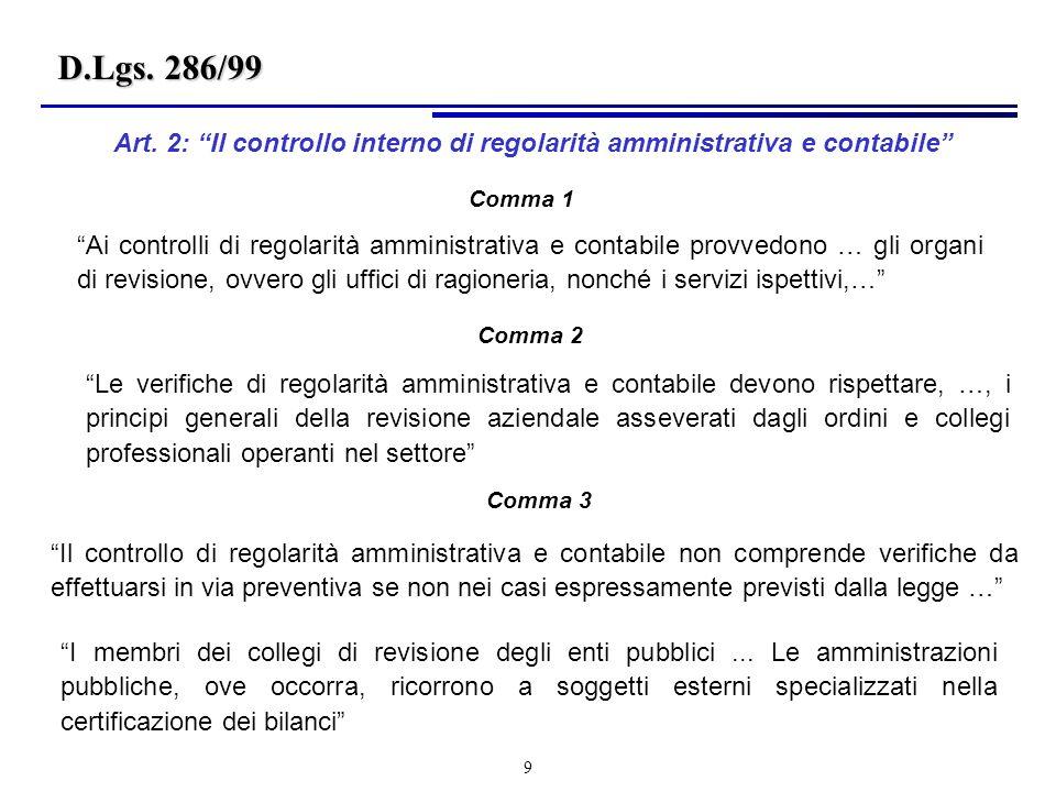 9 Ai controlli di regolarità amministrativa e contabile provvedono … gli organi di revisione, ovvero gli uffici di ragioneria, nonché i servizi ispettivi,… Art.