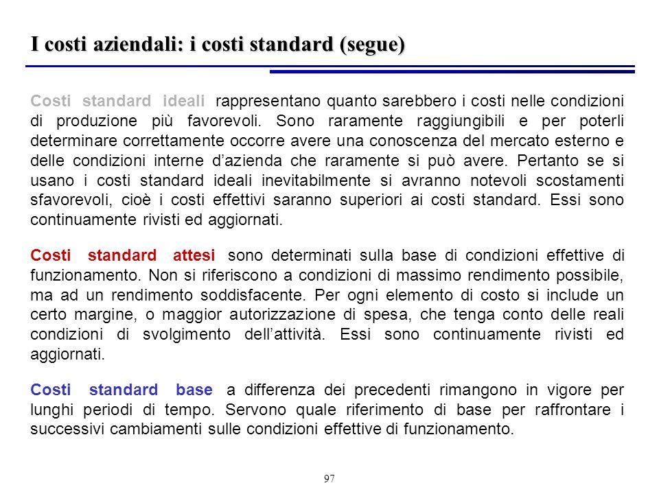 97 Costi standard ideali: rappresentano quanto sarebbero i costi nelle condizioni di produzione più favorevoli.