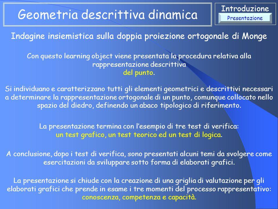 Introduzione Indagine insiemistica sulla doppia proiezione ortogonale di Monge Geometria descrittiva dinamica Con questo learning object viene present