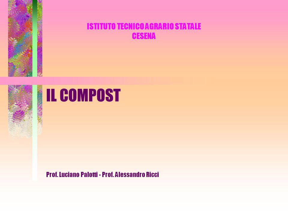 IL COMPOST DEFINIZIONE Il compost è un prodotto ottenuto dalla componente organica dei rifiuti mediante un processo di trattamento biologico, termofilo (prima fase), mesofilo (seconda fase) e aerobico (bio-ossidazione).