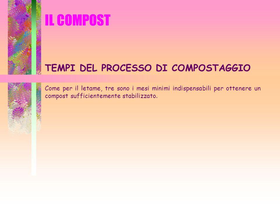 IL COMPOST TEMPI DEL PROCESSO DI COMPOSTAGGIO Come per il letame, tre sono i mesi minimi indispensabili per ottenere un compost sufficientemente stabi