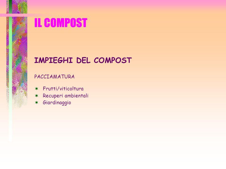 IL COMPOST IMPIEGHI DEL COMPOST PACCIAMATURA Frutti/viticoltura Recuperi ambientali Giardinaggio