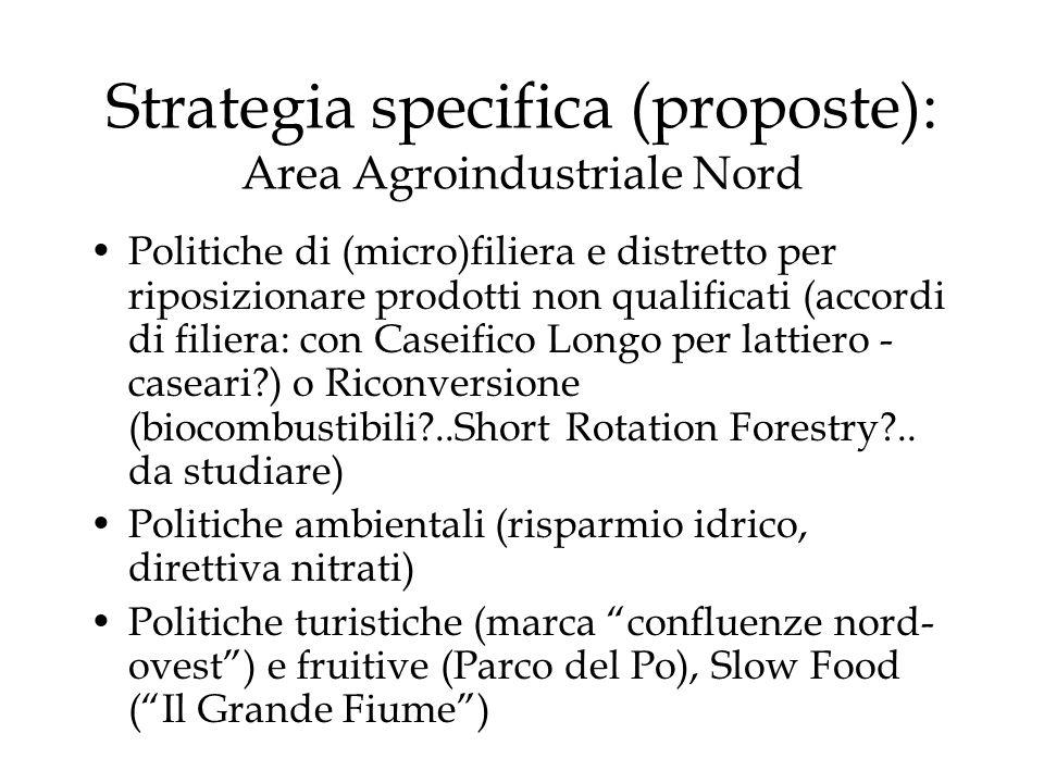 Strategia specifica (proposte): Area Agroindustriale Nord Politiche di (micro)filiera e distretto per riposizionare prodotti non qualificati (accordi