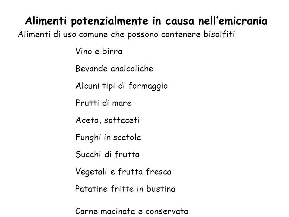 Alimenti di uso comune che possono contenere bisolfiti Vino e birra Bevande analcoliche Alcuni tipi di formaggio Frutti di mare Aceto, sottaceti Fungh