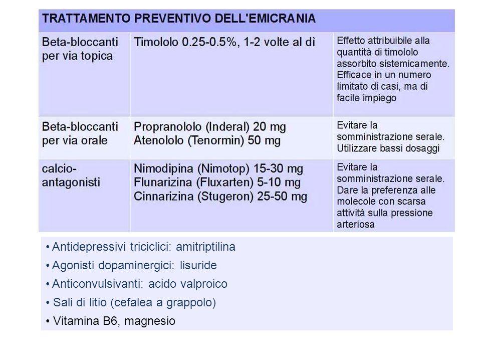 Antidepressivi triciclici: amitriptilina Agonisti dopaminergici: lisuride Anticonvulsivanti: acido valproico Sali di litio (cefalea a grappolo) Vitami