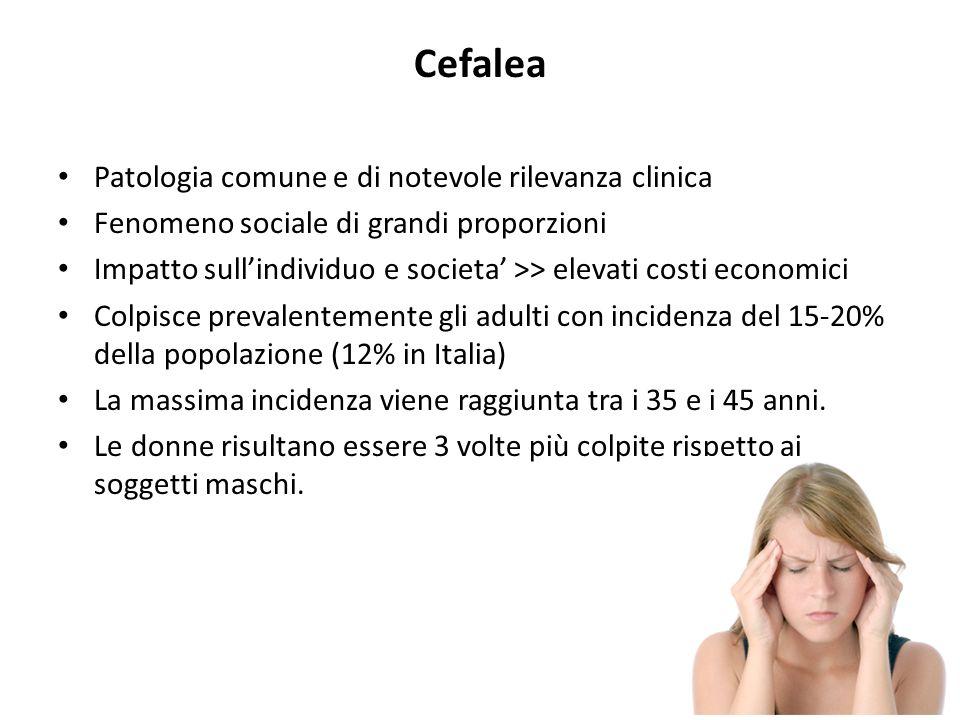 Cefalea Patologia comune e di notevole rilevanza clinica Fenomeno sociale di grandi proporzioni Impatto sullindividuo e societa >> elevati costi econo