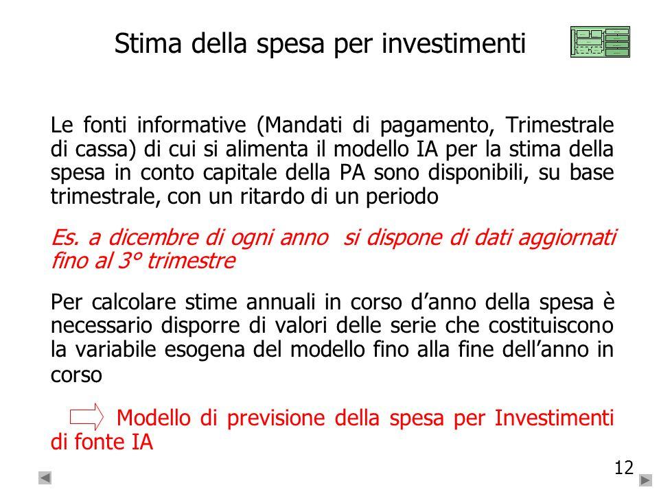 12 Stima della spesa per investimenti Le fonti informative (Mandati di pagamento, Trimestrale di cassa) di cui si alimenta il modello IA per la stima