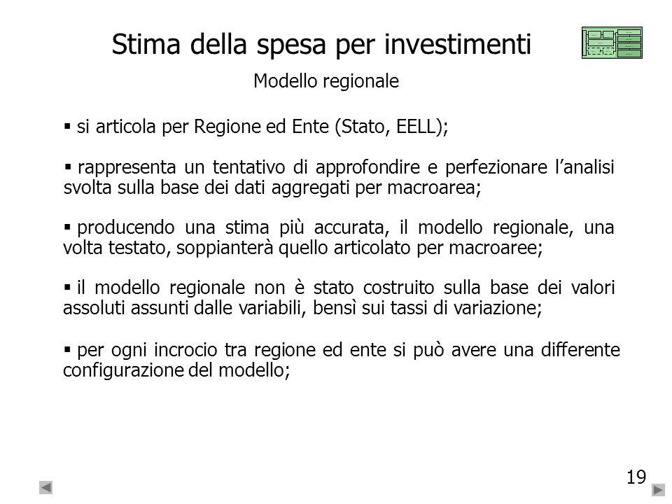 19 Stima della spesa per investimenti Modello regionale si articola per Regione ed Ente (Stato, EELL); rappresenta un tentativo di approfondire e perf