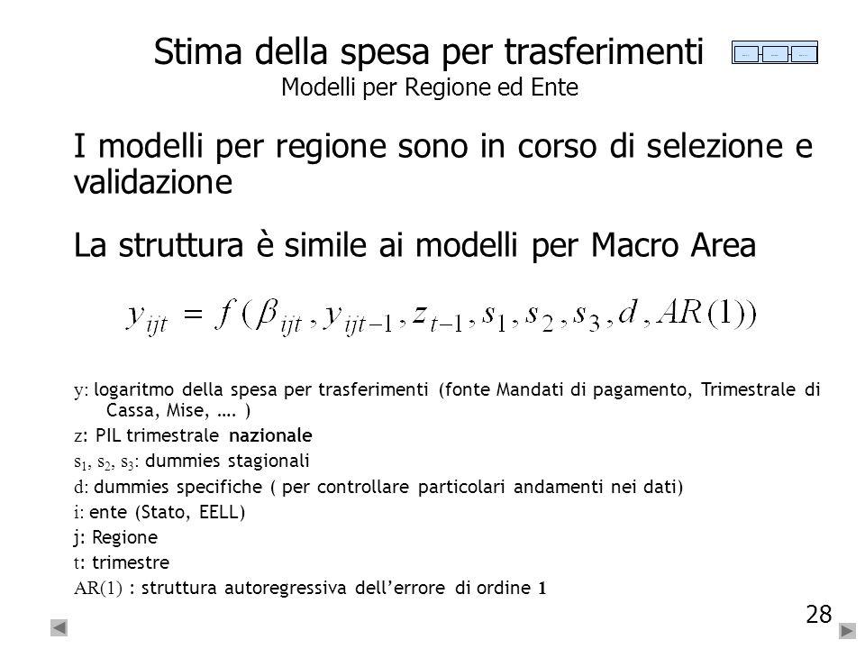28 Stima della spesa per trasferimenti Modelli per Regione ed Ente I modelli per regione sono in corso di selezione e validazione La struttura è simil