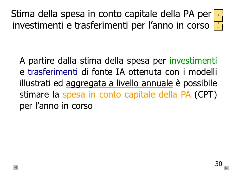 30 Stima della spesa in conto capitale della PA per investimenti e trasferimenti per lanno in corso A partire dalla stima della spesa per investimenti