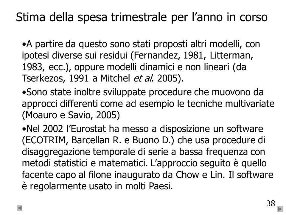 38 Stima della spesa trimestrale per lanno in corso A partire da questo sono stati proposti altri modelli, con ipotesi diverse sui residui (Fernandez,