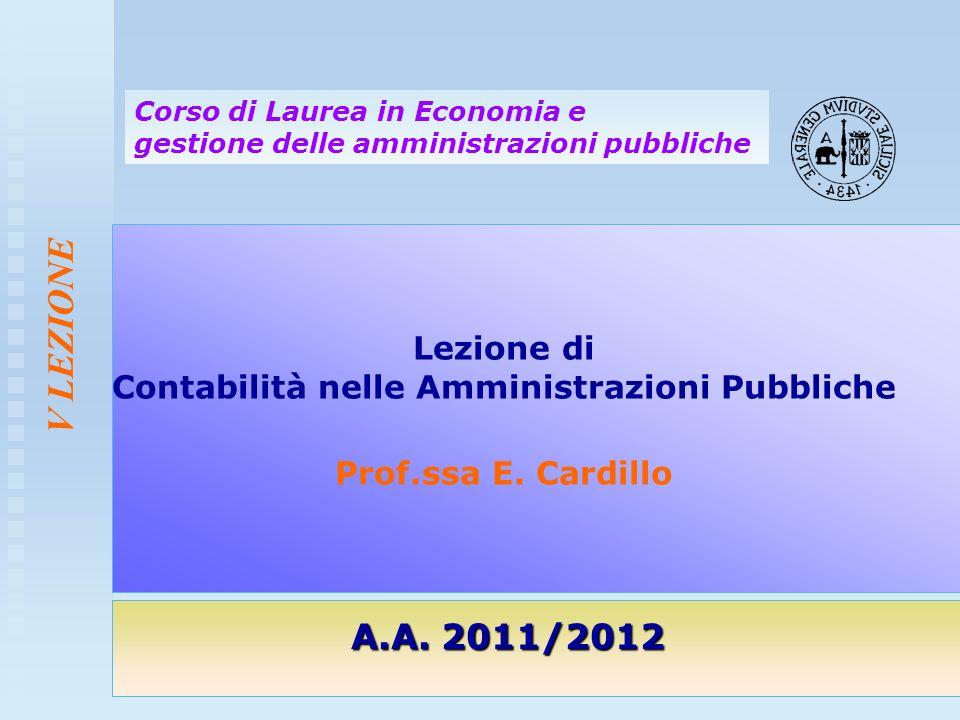 Lezione di Contabilità nelle Amministrazioni Pubbliche Prof.ssa E. Cardillo A.A. 2011/2012 Corso di Laurea in Economia e gestione delle amministrazion