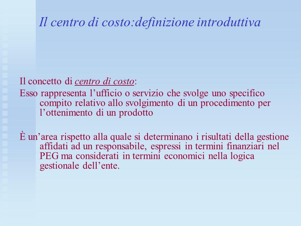 Il centro di costo:definizione introduttiva Il concetto di centro di costo: Esso rappresenta lufficio o servizio che svolge uno specifico compito rela