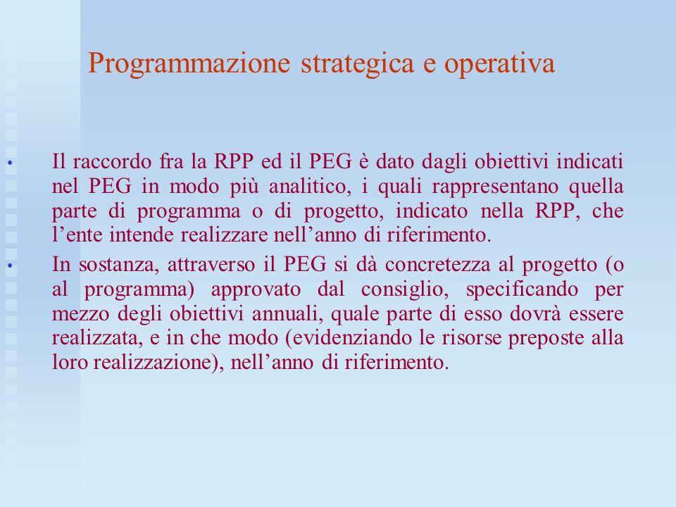 Programmazione strategica e operativa Il raccordo fra la RPP ed il PEG è dato dagli obiettivi indicati nel PEG in modo più analitico, i quali rapprese