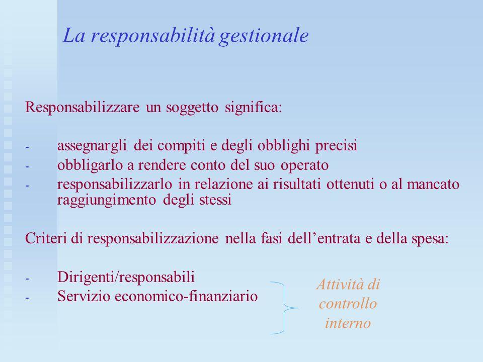 La responsabilità gestionale Responsabilizzare un soggetto significa: - - assegnargli dei compiti e degli obblighi precisi - - obbligarlo a rendere co