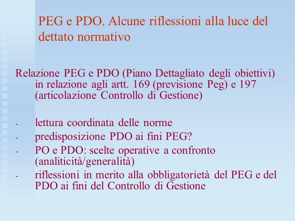 IL PIANO ESECUTIVO DI GESTIONE PDO Problematica: introdurre nel PEG larticolazione dettagliata degli obiettivi gestionali assegnati alla dirigenza.