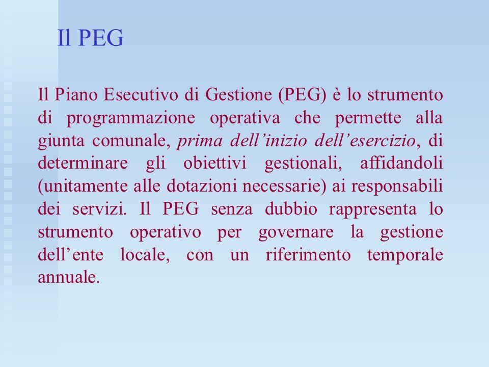 Il PEG Il Piano Esecutivo di Gestione (PEG) è lo strumento di programmazione operativa che permette alla giunta comunale, prima dellinizio delleserciz