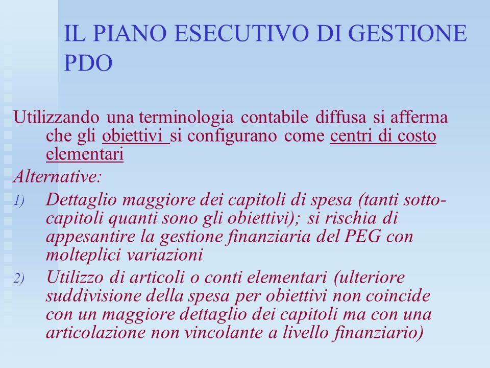 IL PIANO ESECUTIVO DI GESTIONE PDO Utilizzando una terminologia contabile diffusa si afferma che gli obiettivi si configurano come centri di costo ele